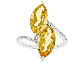 Yellow Citrine Rhodium Over Sterling Silver Ring 3.24ctw