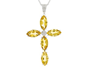 Yellow Citrine Rhodium Over Sterling Silver Cross Pendant With Chain 7.81ctw