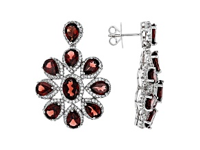 Red Garnet Rhodium Over Sterling Silver Earrings 21.06ctw