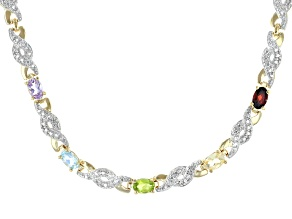 Multi-Stone 14K Gold Over Sterling Silver Necklace 2.10ctw
