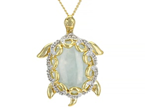 "Green Jadeite 18K Yellow Gold Over Silver Pendant with 18"" Chain 16x12mm"