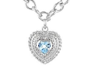 Sky Blue Topaz Sterling Silver Necklace 1.00ctw