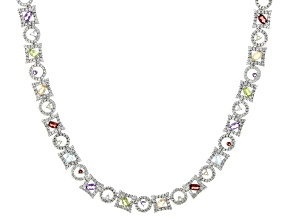 Multi Stone Sterling Silver Necklace  3.35ctw