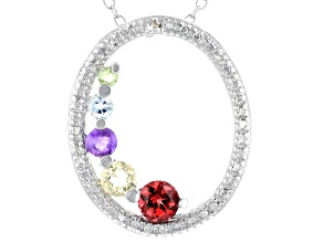Multi Stone Rhodium Over Silver Necklace 0.62ctw