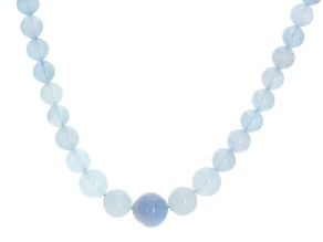 Blue Aquamarine Rhodium Over Sterling Silver Necklace 50.00ctw