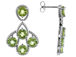 Green Peridot Rhodium over Sterling Silver Dangle  Earrings