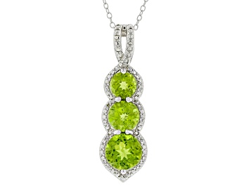 Picture of Green Peridot Rhodium over Sterling Silver Pendant with Chain 4.34ctw