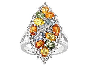 Multi Sapphire Rhodium Over Sterling Silver Ring 4.10ctw