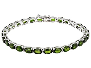 Green Chrome Diopside Rhodium Over Sterling Silver Line Bracelet 14.50ctw