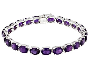 Purple Amethyst Rhodium Over Sterling Silver Line Bracelet