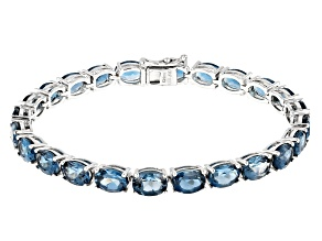 London Blue Topaz Rhodium Over Sterling Silver Line Bracelet 24.00ctw