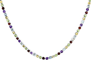 Multi Gemstone Rhodium Over Sterling Silver Necklace 11.89ctw