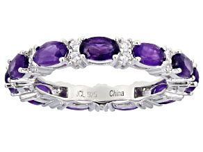 Amethyst Rhodium Over Sterling Silver Band Ring 2.85ctw