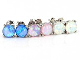 White, Pink, and Blue Lab Created Opal Rhodium Over Sterling Silver Set of 3 Stud Earrings 6mm Round
