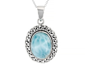 Blue Larimar Silver Pendant with Chain