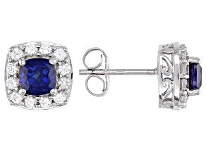 Lab Created Blue Sapphire Rhodium Over Silver Earrings 2.39ctw