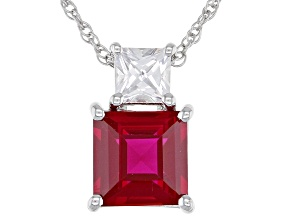 Lab Created Ruby Rhodium Over Silver Pendant 2.78ctw