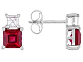 Lab Created Ruby Rhodium Over Silver Earrings 2.72ctw