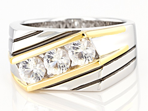 ab Created White Sapphire 14K Gold Over Sterling Silver Men's Ring 1.85ctw