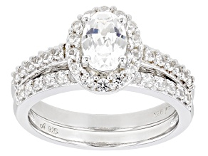 Lab Created White Sapphire Rhodium Over Silver Ring 1.60ctw