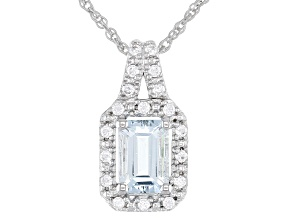 Aquamarine Rhodium Over Sterling Silver Pendant 1.17ctw