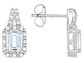 Aquamarine Rhodium Over Silver Earrings 1.39ctw