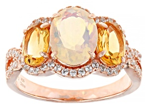 Opal 18K Rose Gold Over Sterling Silver Ring