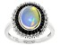 Opal Rhodium Over Sterling Silver Ring