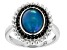 Blue Opal Rhodium Over Sterling Silver Ring 0.85ctw
