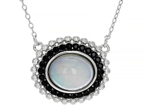 Opal Rhodium Over Sterling Silver Necklace 0.25ctw