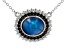 Blue Opal Rhodium Over Sterling Silver Pendant With Chain 11x9mm