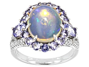 Opal Rhodium Over Sterling Silver Ring 12x10mm