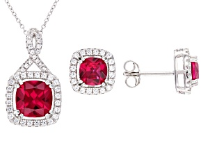 Red  Lab Created Ruby Rhodium Over Sterling Silver Jewelry Set 5.24ctw