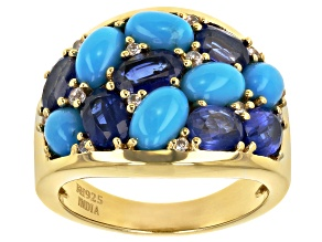 Blue Turquoise 14k Yellow Gold Over Silver Cluster Ring