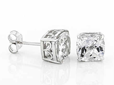White Topaz Rhodium Over Sterling Silver Stud Earrings 4.37ctw
