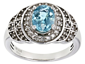 Blue Zircon Platinum Over Silver Ring 2.26ctw