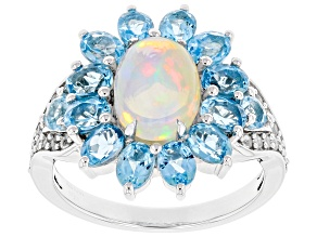 Ethiopian Opal Rhodium Over Silver Ring 3.31ctw