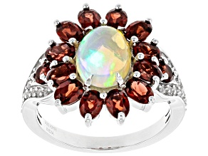Ethiopian Opal  Rhodium Over Sterling Silver Ring 3.56ctw