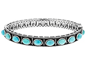 Turquoise Rhodium Over Silver Bracelet