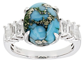 Blue Turquoise Rhodium Over Silver Ring 4.25ctw