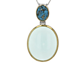 Caribbean Chalcedony Rhodium  Over Sterling Pendant W/ Chain