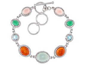 Multi Stone Rhodium Over Sterling Silver Station Bracelet 12.22ctw