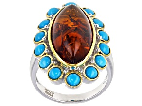 Amber Rhodium Over Sterling Silver Ring