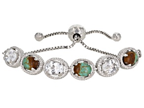 Turquoise Rhodium Over Sterling Silver Bolo Bracelet 5.16ctw