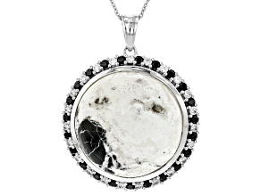 White Buffalo Agate Rhodium Over Silver Pendant w/Chain