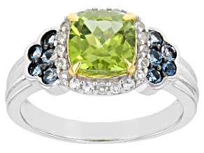 Green Peridot Rhodium Over Sterling Silver Ring 1.81ctw