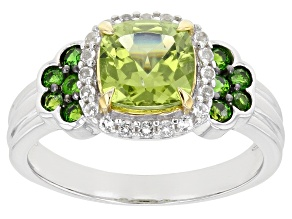 Green Peridot Rhodium Over Silver Ring 1.79ctw