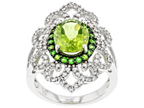 Peridot Rhodium Over Silver Ring 3.36ctw