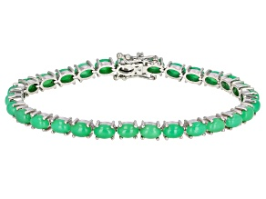 Chrysoprase Rhodium Over Sterling Silver Bracelet