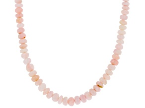 Peruvian Pink Opal Rhodium Over Silver Beaded Necklace